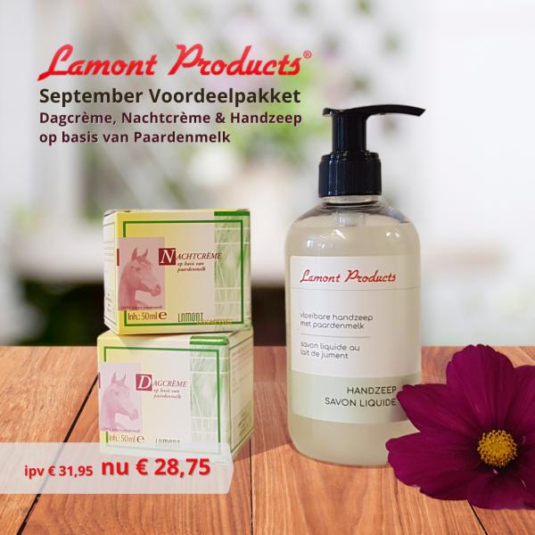 Voordeelpakket september | dagcrème, nachtcrème en handzeep met paardenmelk