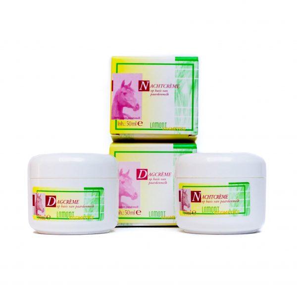 Dagcrème + nachtcrème met natuurlijke paardenmelk | huidverzorgingsset